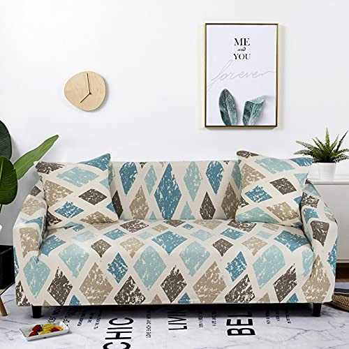 PPOS Stretch Sofa Cover for Living Room Geometric Slipcover Elastic Couch Cover for Different Shape Dust Protective Cover D12 1seat 90-140cm-1pc