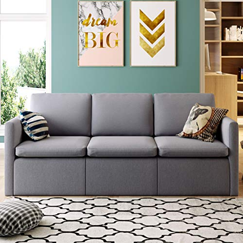 3 Seater Sofa, Linen Fabric Couch with Hardwood Frame, Removable and Washable Cushion, Grey