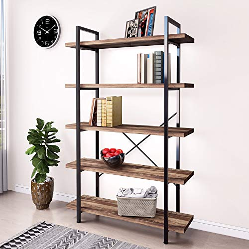 45MinST 5Tier Vintage Industrial Style Bookcase/Metal and Wood Bookshelf Furniture for CollectionVintage Brown 3/4/5 Tier 5Tier