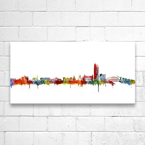 Kunstbruder Offenbach Skyline Light (div. Grš§en) - Kunst Druck auf Leinwand 100x200cm