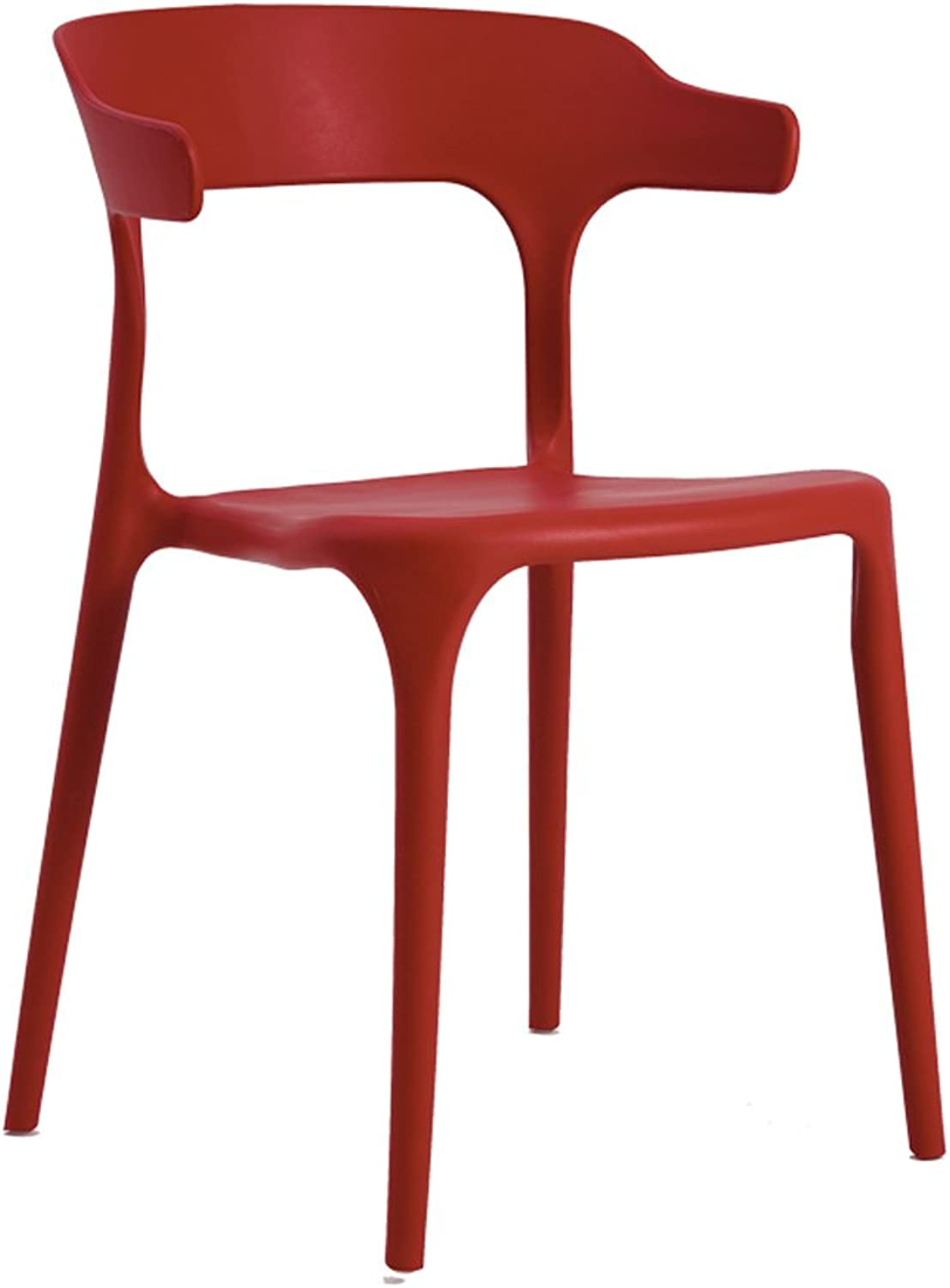 CJH Nordic Leisure Modern Minimalist Plastic Dining Chair Creative Adult Fashion Chair Restaurant Back Stool Home Horn Chair Red