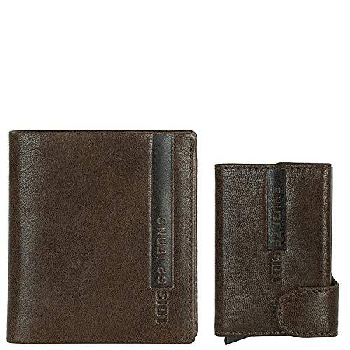 Lois - Conjunto de Cartera Billetera con Monedero de Piel para Hombre mas Tarjetero pequeño con Protección de Seguridad RFID 999101, Color Marron