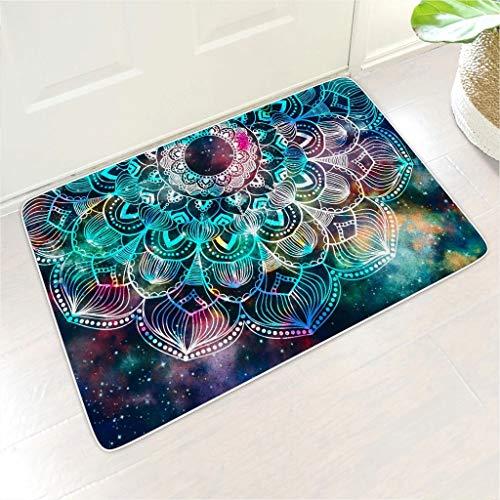 Rcerirt Psychedelic Galaxy Mandala Robust Fußmatten maschinenwaschbar nehmen Sie Feuchtigkeit schnell auf und widerstehen Sie Schmutz mit Rutschfester Gummirücken für Innenbereich White 40x60 cm