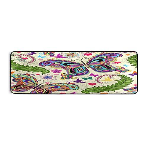 ALARGE - Alfombrilla antideslizante para el piso de cocina, diseño de flores, mariposas, para salón, pasillo, dormitorio, baño, entrada, interior y exterior, lavable, 2 x 6 pies