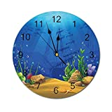 AEMAPE Acuario Reloj de Pared Redondo, Vida Marina Paisaje Barco hundido Silueta Corales Peces Trópicos Decorativo Azul Claro Café Verde