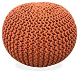 Fernish Décor Hand Knitted Cotton Ottoman Pouf Footrest 20x20x14 INCH, Living Room Accent seat (Pumpkin Orange)