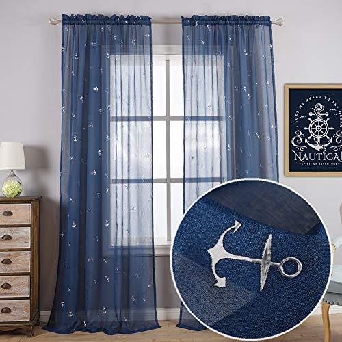 Kotile Navy Blue Nautical Curtains for Boys Room - Embossed Metallic Silver Foil Anchor Sheer Curtains 63 Inche Length Rod Pocket Window Curtains 2 Voile Sheer Panels, 52 x 63 Inch, Sold as Pair