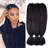 Wome Hair Kanekalon Synthetic Jumbo Braiding Hair 3Pcs/Lot 24inch High Temperature Fiber Crochet Braids Hair Extensions(Natural Black 1b#,24',100g/Pcs)