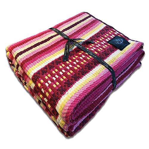 Craft Story Decke Carlota I lila-pink-rot-gelb-weiß gestreift aus 100% Baumwolle I Tagesdecke I Sofa-Decke I Couch-Überwurf I Bedspread I Plaid I 140 x 210cm
