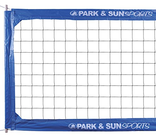 Park & Sun Sports Regulation Size Indoor/Outdoor Professional Volleyball Net with Steel Cable Top and Bottom, Blue, One Size
