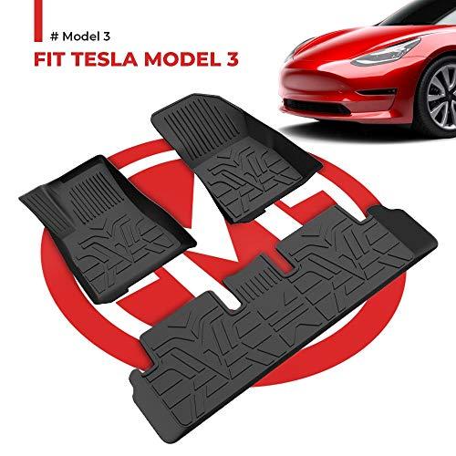 BougeRV for Tesla Model 3 Floor Mats Accessories, All-Weather Floor Liners 3D Full Cover Floor Mats Carpet Set, Waterproof, Largest Coverage, TPE Odourless Rubber fits Tesla Model 3 2017-2020
