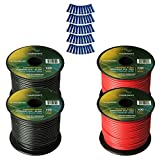 Harmony Audio Primary Single Conductor 14 Gauge Power or Ground Wire - 4 Rolls - 400 Feet - Red & Black for Car Audio/Trailer/Model Train/Remote