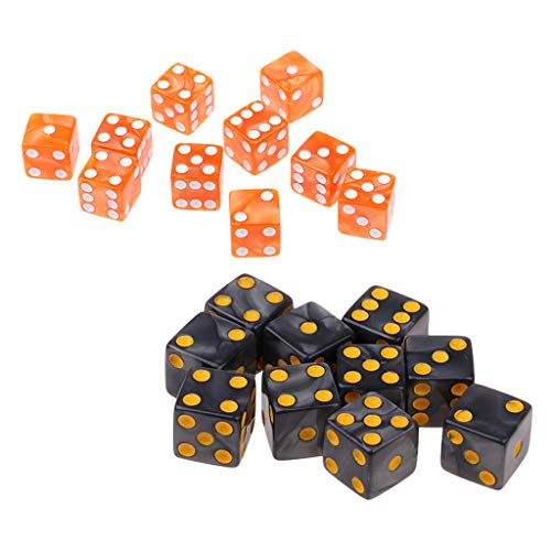 Hellery 20x Juego de Dice D6 Six Sided Dotted para Jugadores