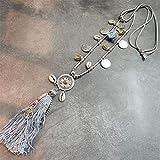 Cocina Utensilios Molde Boho All-Match Sweater Chain Necklace Tassel Alloy Alrededor Colgantes Largos Para Mujeres Regalo De Joyería, Gris