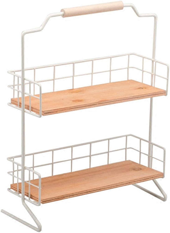 CCF Iron Art Shelf - Wooden Handle Handle Double Layer Desktop Sort Out Storage Rack Home Decoration Log Partition 2-Shelf CCFSF