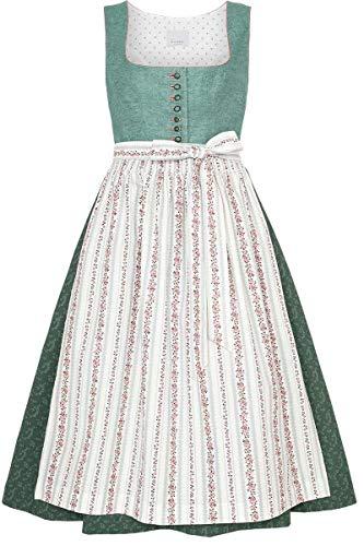 h.moser Salzburg Damen Leinendirndl salbeigrün Altrosa, 5670-SALBEI/ALTROSA, 44