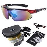 (フェリー) FERRY 偏光レンズ スポーツサングラス フルセット専用交換レンズ5枚 ユニセックス ブラック/レッド