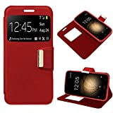 iGlobalmarket BQ Aquaris U Plus, Funda con Tapa, Apertura Lateral Tipo Libro, Cuero PU, Color Rojo