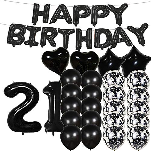 Sweet 21th Birthday Decorations Party Supplies,Black Number 21 Balloons,21th Foil Mylar Balloons Latex Balloon Decoration,Great 21th Birthday Gifts for Girls,Women,Men,Photo Props