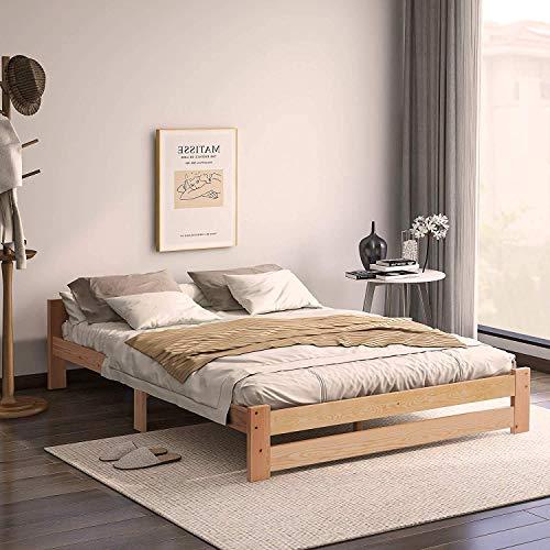 Doppelbett Bett 140x200 cm mit Lattenrost Bettgestell Seniorenbett Holzbett aus Naturholz Jugendbett