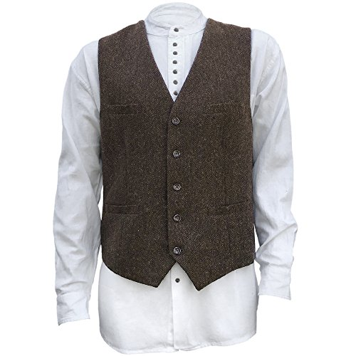 The Celtic Ranch Men's Blended-Wool Tweed Vest, Full Back with Fabric Belt, 4 Pockets, Herringbone Pattern, Brown ( XX-Large)