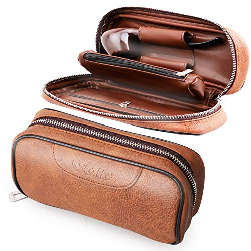Scotte PU Leather Wood Pipe Pouch case/Bag for 2 Pipes & Accessories