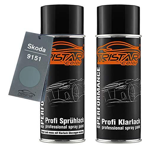 TRISTARcolor Autolack Spraydosen Set für Skoda 9151 Stone Grey Metallic Basislack Klarlack Sprühdose 400ml