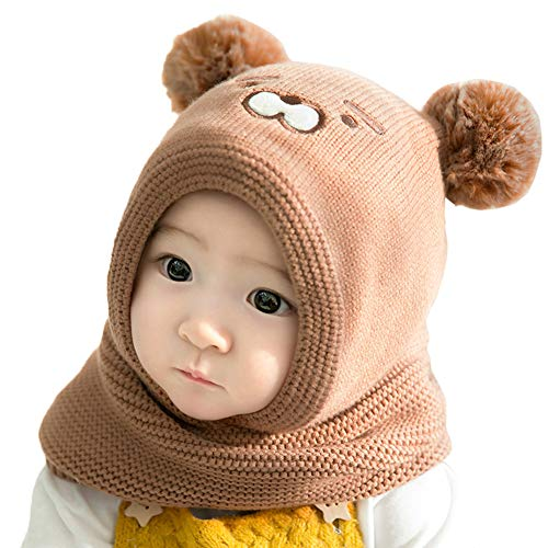 Vobony Sombrero y Bufandas Bebé Recien Nacido Invierno Cálidos Bufanda con Capucha Gorros de Punto de Animales Lindos Pasamontañas para Niño Niña (Café)