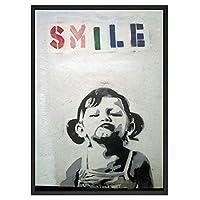 バンクシーグラフィティストリートアート抽象キャンバスポスターとプリントの少女が住んでいる部屋のために絵アーバンウォールアートキャンバススマイル、ホームデコレーション画像、フレームレス,30×40cm