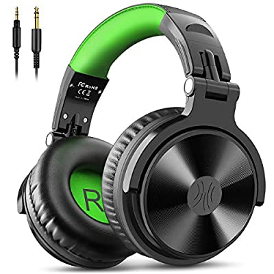 OneOdio Wired Over Ear Headphones Studio Monitor & Mixing DJ Stereo Headsets with 50mm Neodymium Drivers and 1/4 to 3.5mm Audio Jack for AMP Computer Recording Phone Piano Guitar Laptop - Black