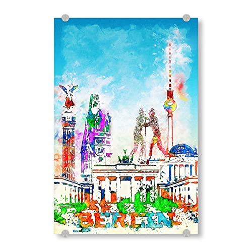 artboxONE Acrylglasbild 30x20 cm Städte Berlin Collage in bunt - Bild Architektur brandenburger Tor