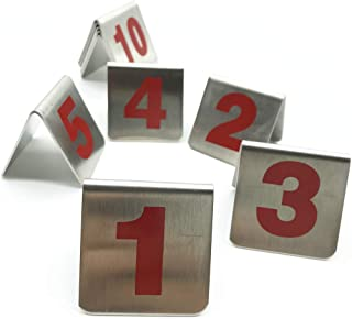Amatolo 10 Pcs Metal Tent Style Stackable Table Numbers,Place Cards Suitable for Restaurants Cafes Bars and Personal Gatherings. (Numbered 1 Through 10)