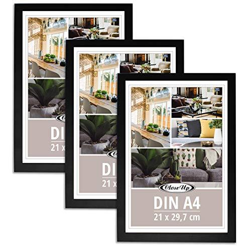 Close Up Bilderrahmen 3er Set DIN A4 schwarz - Premium MDF-Rahmen, bruchsichere Plexiglas-Scheibe - für Motive im Format 21 x 29,7 cm