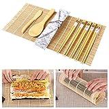 ZITFRI Sushi Kit Completo 10 Pezzi Set per Fare Sushi di bambù, 2 Stuoie Sushi, 1 Scoop di Riso, 1 Coltello di bambù, 5 Paia di Bacchette e 1 Sacchetto di Stoffa, Set per Sushi Fai da Te