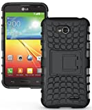NAKEDCELLPHONE Black Grenade Grip Rugged TPU Skin Hard CASE Cover Stand for LG Optimus L70 (MS323 D320 D325)