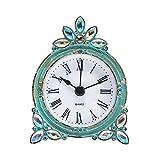 NIKKY HOME Vintage Pewter Small Quartz Table Clock with Crystal Shining Rhinestone 7.2 x 10 x 3.5 CM, Aqua