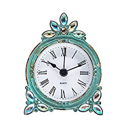 NIKKY HOME Vintage Pewter Quartz Mini Table Clock with Crystal Shining Rhinestone, 2.87 x 1.37 x 3.87 Inches, Aqua