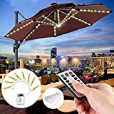 Patio Umbrella Lights with Remote Control, Outdoor Home Christmas Decor 8 Brightness Modes 104 LED Umbrella Pole Light Waterproof Battery Operated Parasol String Lights for Camping Tents, Warm White
