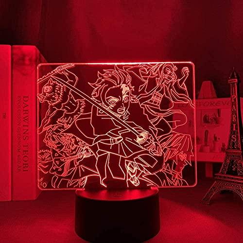 3D noche lámpara anime ilusión lámpara anime demonio asesino kimetsu no yaiba llevó la luz de la noche para la decoración del dormitorio luz Brithday regalo 16 colores