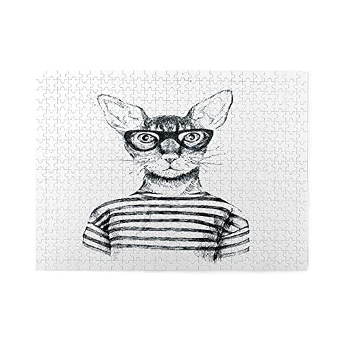Rompecabezas de 500 piezas,hipster disfrazado a mano,ilustraciones de juegos de rompecabezas familiares grandes para adultos y adolescentes