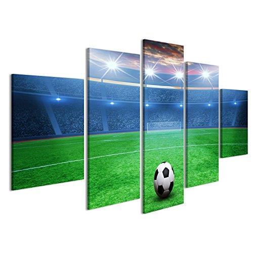 islandburner, Quadro moderno Il pallone da calcio sullo stadio verde, arena nella Stampa su tela Quadro JYZ-IT