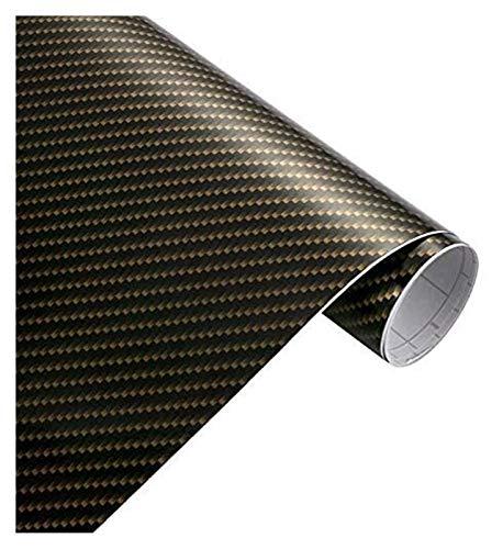 YDL Pegatinas 50x200cm High Glossy 2D Fibra De Carbono Vinyl Wrap Wrap Película Impermeable PVC Pegatinas De Coche Envoltura DIY Automóviles Motocicleta Calcomanía (Size : Gold Black)