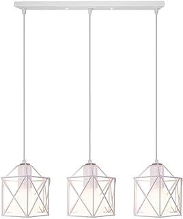 Vintage Lámpara Colgante Retro Industrial 3 Cabezas Luz de Techo Colgante Estilo Nórdico Iluminación Colgante para Cocina Comedor Oficina Salón (Blanco-con una barra de techo)