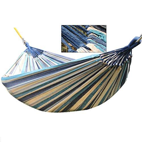 Hamacas Mobiliario de Camping Lienzo Aire Libre Adecuado for múltiples escenas Doble cómodo y Transpirable de Carga de 400 kg (Color : Blue, Size : 280 * 150cm)