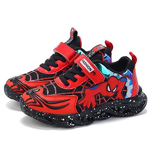 DTZW Kinder-Turnschuhe mit LED-Licht, Spider-Design, für Jungen und Mädchen, blinkende Schuhe, lässig, leicht, atmungsaktiv (Größe: 31, Farbe: A-rot)