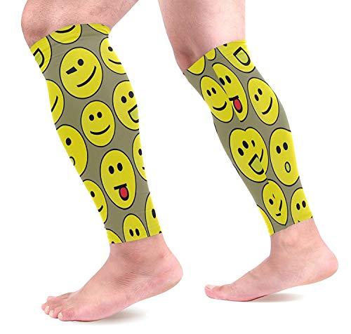 zhulaowufenbaoyouxi Interessante gelbe Emoji Print Männer Kompressionshülse Sport Bein Unterstützung Schutz Kompression Wadenärmel Leggings für Outdoor-Sportarten 1-Pair Fashion3876