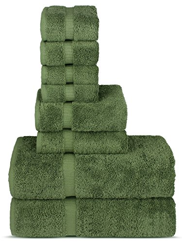 Chakir Turkish Linens Hotel & Spa Quality, Highly Absorbent Towel Set (Set of 8, Moss)