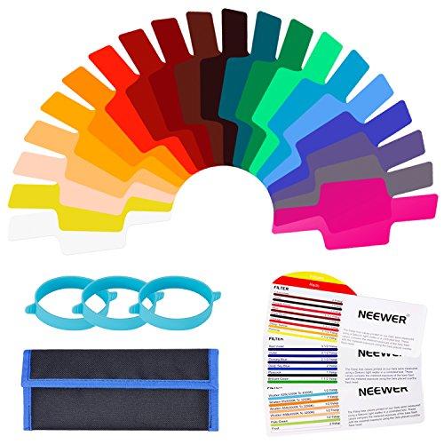 Neewer 20 Stücke Kamerablitz Gel Beleuchtungsfilter Transparent Farbkorrektur Filterset mit 3 Stücke Befestigungsband und Aufbewahrungsbeutel für Fotostudio Blitz