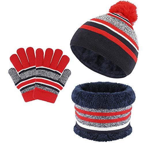 TAGVO 3 in 1 Wintermütze Beanie Hut Schal Handschuhe Set für Kinder, Winter Verdicken Fleece Thermisch Strickmütze Mütze, Schal & Handschuh-Sets, für Kinder Kinder Jungen Mädchen, 3-6 Jahre
