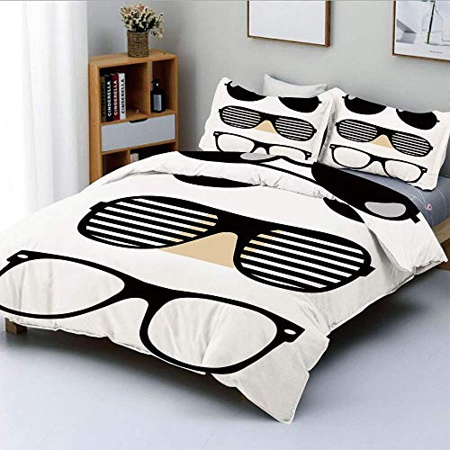 Bettbezug-Set, Set mit stilisierten, altmodischen Sonnenbrillen Sommeraccessoires Hipster Vintage DecorativeDecorative 3-teiliges Bettwäscheset mit 2 Kissen Sham, Schwarz und Weiß, Best GIF Easy Care